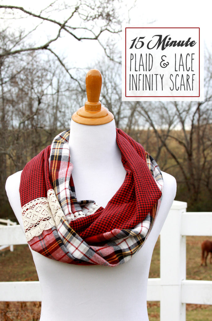 Easy scrap plaid and lace scarf