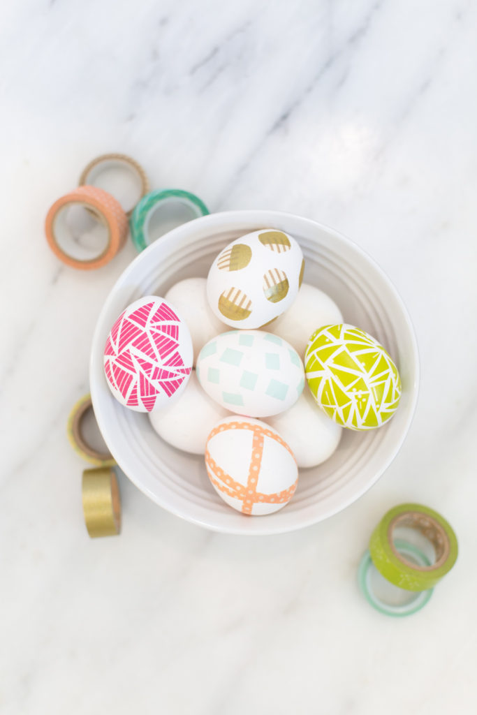 four no-dye ideas to decorate easter eggs with washi tape
