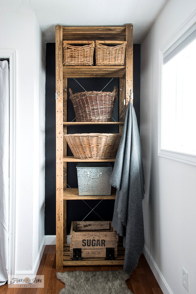Turn a new Ikea storage shelf into a rustic farmhouse beauty!