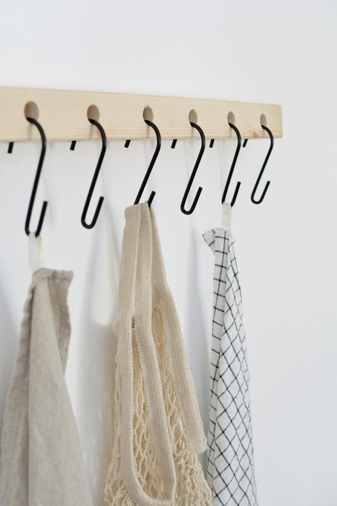 DIY storage shelf with hooks