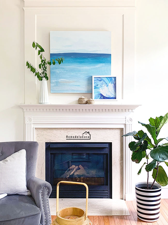 Summer Mantel With DIY - Ocean Painting