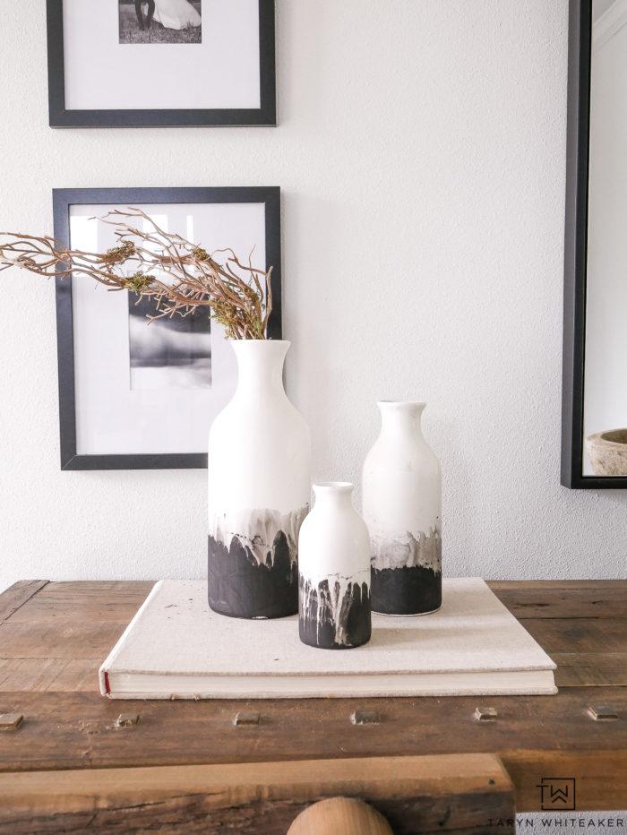 Черно-белые керамические вазы в стиле модерн своими руками